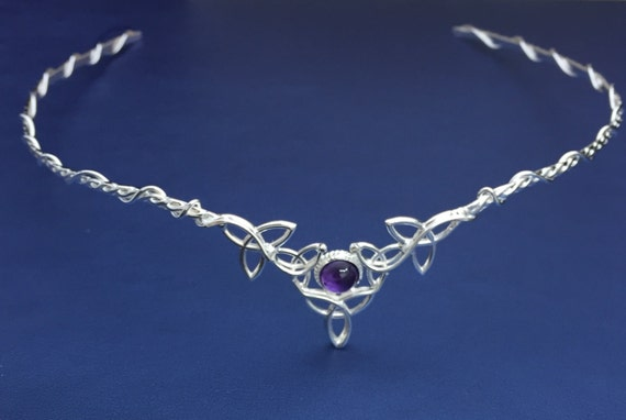 Amethyst Celtic Bridal Sterling Silver Circlet