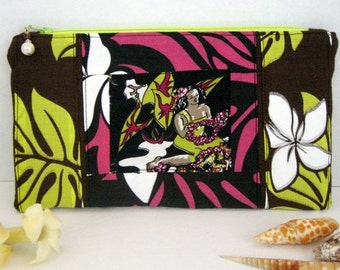 Hawaiian Lei Maker vintage fabric zipper pouch - made with ALOHA