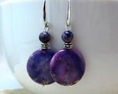 25% SALE Purple Jasper Earrings, Dyed Jasper Earrings, Drops, Under 20, Fall Finds,