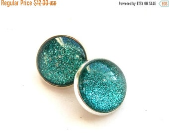 25% SALE Emerald Green Sparkle Clip On Earrings. Under 25. Gifts for Her. Stocking Stuffers.