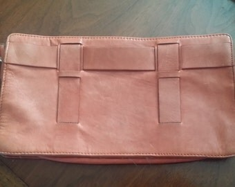 Vintage peach leather clutch by Filippa K Sweden