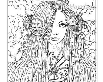 Sun Moon Stars  - Digital Stamp - Printable - Hippie Celestial Boho Bohemian - Molly Harrison Fantasy Art - Digistamp Coloring Page