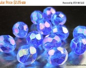 50% OFF Sapphire Luster Iris Czech Glass Beads - Firepolished Faceted - Czech 8mm Faceted Round Beads - Full Strand 25 pcs (G - 328)