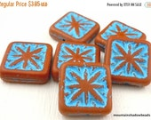 50% OFF Clearance Czech Picasso Beads - Terra Cotta Turquoise Picasso - 15mm Square Beads (6)