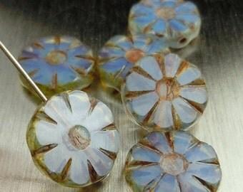 25% OFF Summer Sale Czech Glass Beads 13mm Coin Beads Light Milky Light Sapphire Picasso - Picasso Czech Beads - 6 pcs (G - 569)