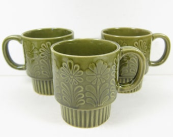 Vintage Stacking Mugs Made in Japan Green Glazed Ceramic with Raised Flower Designs Retro Kitchen Set of 3