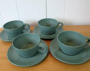 4 vintage melmac cup and saucers Rio Vista by Texas Ware