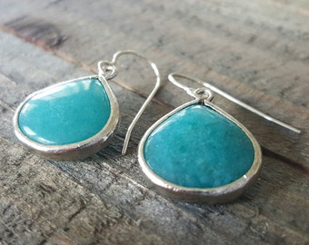 Teal Glass Drops and Sterling Silver Earrings