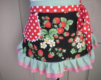 Womens Aprons - Strawberry Fabric Apron - Womens Half Aprons - Strwberry Fabric Aprons - Annies Attic Aprons - Handmade Aprons - Etsy Aprons