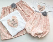 Matching SISTER Outfit..Girls baby gown and big sister shirt - embroidered -Coming home outfit