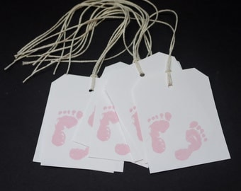 Baby Feet in Pink, baby girl tags, hand stamped, baby pink feet, hang tags, favor tags, party favors, gift tags, set of 25, glossy paper