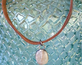 Soldered Pebble soldered stone on Leather Chocker rustic necklace
