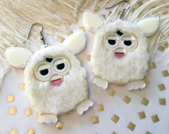 Furry Furby Acrylic Laser Cut Earrings
