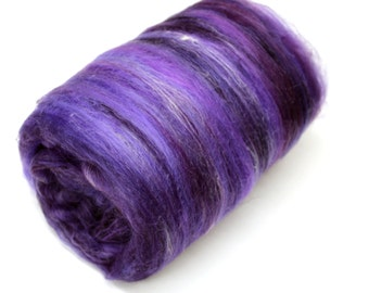 Carded Batt Merino & Silk Purples Fine Merino Wool XL 100g 200g 500g Spinning and Felting Fibre