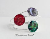 Circuit Board Bracelet CHOOSE COLOR, Silver Plated Cuff, Geeky Bracelet, Wearable Technology Gift for Her, Engineer Gift, Computer Science