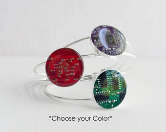 Recycled Circuit Board Bracelet - Silver Plated Cuff - Geeky Bracelet - Technology Gift for Her - Choose your Color
