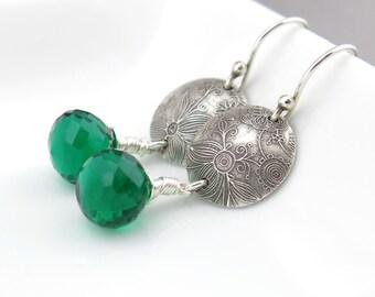 ON SALE Emerald Earrings Green Earrings Sterling Silver Dangle Earrings Modern Jewelry Handmade Jewelry Gift for Her - Kristen