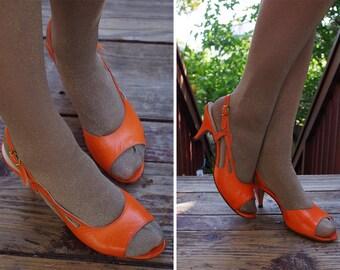 TRPOICANA 1950's 60's Vintage Bright Orange Sexy Slingback High Heels // by Mr. KIMEL California // size 8 N