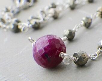 garnet and pyrite necklace, gemstone choker, silver pyrite necklace, silver choker necklace, gemstone and pyrite necklace