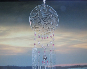 My Tribute to Mary, Glass Sculpture, Wind Chime, Breast Cancer Awareness, Garden Art, Home Decor, Mobile,Wall Hanging, Cancer Survivor, Pink