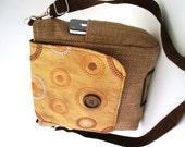 womens backpack crossbody bag, eco friendly bag, messenger bag, faux leather purse, fabric handbag, fit Ipad, zipper bag