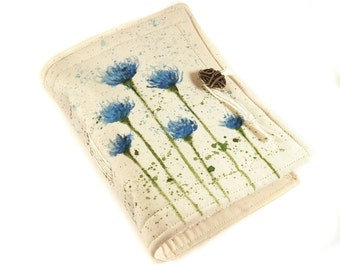 Cornflower, Handmade journal, painted notebook