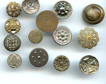 Lot of Victorian Metal Buttons Wholesale Bakers Dozen (13) Small Antique MORE AVAILABLE 2473