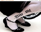 10%Off// sexy Halloween Bite Me tattoo thigh-high stockings White