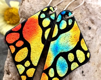 DICHROIC EARRINGS Butterfly Wings Hand Etched Fused Glass with Sterling Silver Hooks