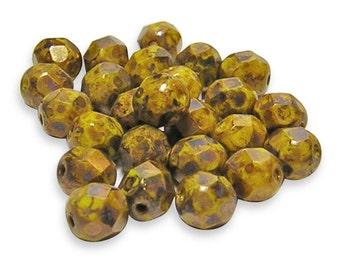 Round Beads - Fire Polished Beads - 6mm Fire Polished - Czech Glass Beads - Picasso Beads - Yellow Fire Polished - 25pcs (511)