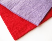100% Wool Felt - 4mm - Handmade Felt - Thick Felt - Red & Purple - Destash