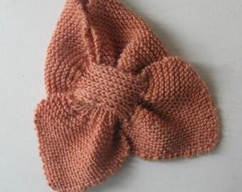 Peach Hand knit Keyhole Scarf