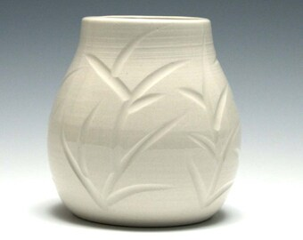 Small White Ceramic Vase with Carved Branches