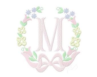 Floral Laurel Wreath Embroidery Design Instant Download Font 4x4 5x7 6x10 BX