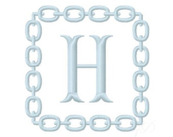 Equestrian Embroidery Design Frame Chain Link Snaffle Bit Square Horse Preppy Instant Download 4x4 5x7 6x10 BX PES Embroidery Font