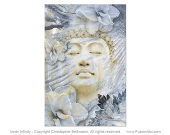 Inner Infinity - 24x36 Large Buddha Art Canvas - Ethereal Blue and Tan Zen Buddha Art by Artist Christopher Beikmann