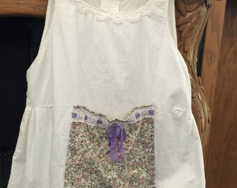 Girl's Dress Vintage/Antique Upcycled Altered Ecru Off White
