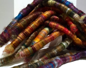 "Scrap fiber spinning felting rolags PHAT FIBER May 2015 ""Spring Cleaning"" fiber art rolags, by the ounce, wool fiber nuno felting mini batts"