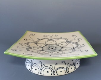 Elegant and Artsy One of a Kind Handcrafted Serving Platter Lime Green Rim
