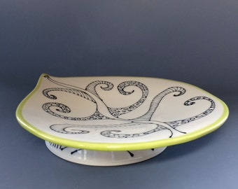 Elegant and Artsy One of a Kind Handcrafted Serving Platter Sour Apple Green Rim