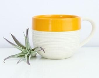 Orange Mug - Porcelain Groove Mug in Orange - Large 14 Ounce Ceramic Mug