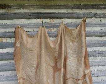 Tea dyed solk wool scarf