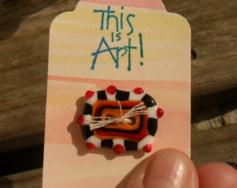 Button Red White Black Ochre Rectangle 2 Hole Artisan Lampwork Button, Handmade SRA Glassymom