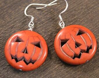 Orange jack-o-lantern pumpkin halloween stone and silver handmade earrings