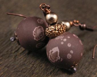 SALE Chocolate brown beads, pearls, antique copper handmade earrings