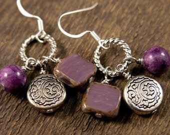 Purple quartzite stone, czech glass and silver charm handmade earrings