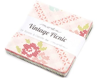 Vintage Picnic Charm Pack by Bonnie and Camille for Moda Fabrics,  42 5 inch squares