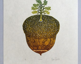 Acorn - Woodcut Print, Woodblock Print by Tugboat Printshop