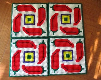 Hot Peppers Coaster/Candle Mat Set of Four Kitchen Home Decor Plastic Canvas