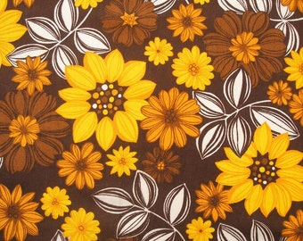 """vintage 60s 70s flower power fabric in mustard yellow and chocolate brown 40"""""""
